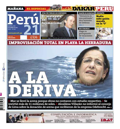 Portada de Peru21 del 27/12/11. Titular de nota interior: Villarán inauguró playa sin haber culminado obra