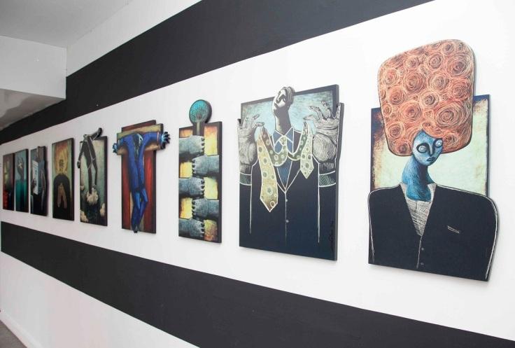 Iustraciones de Claudia Gastaldo en su muestra personal (Foto: Augusto Escribens)